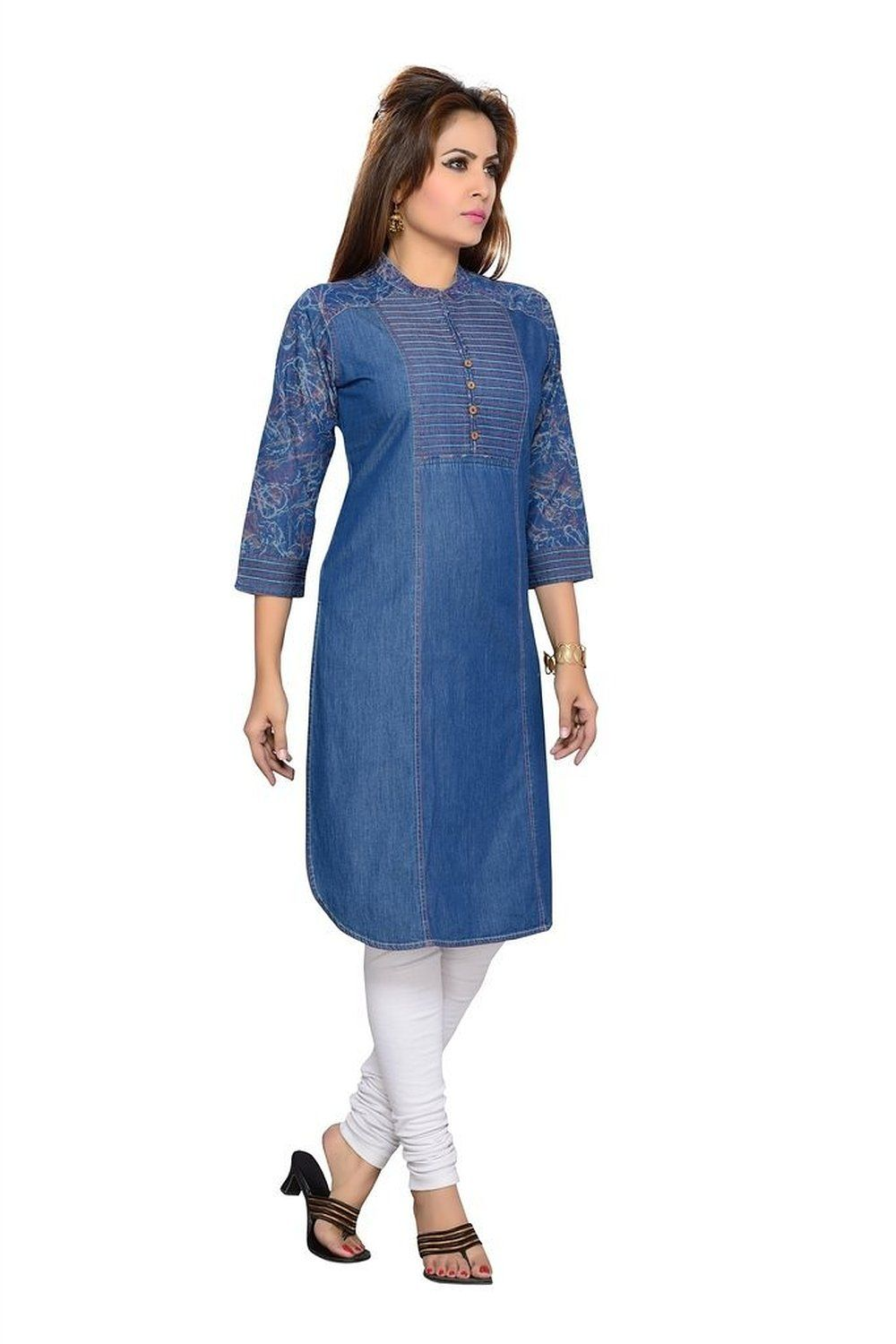 F loop women denim stitched kurti d 8 blue for Locker loop dress shirt
