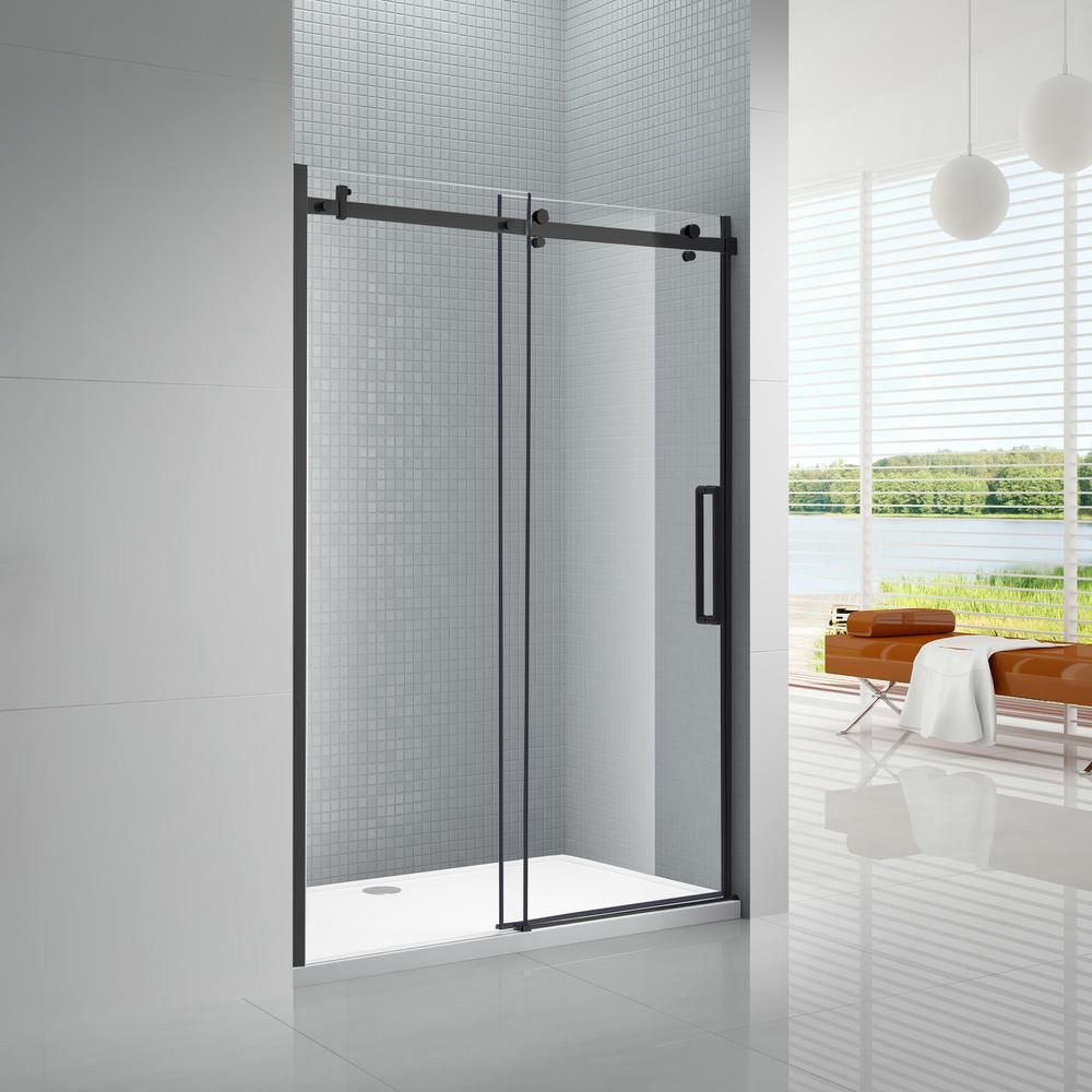 Amluxx Primo 60 In X 78 In Frameless Sliding Shower Door In Black With 8 Mm Clear Glass Primo 8 60bt The Home Depot Frameless Sliding Shower Doors Shower Sliding Glass Door Glass Shower Doors