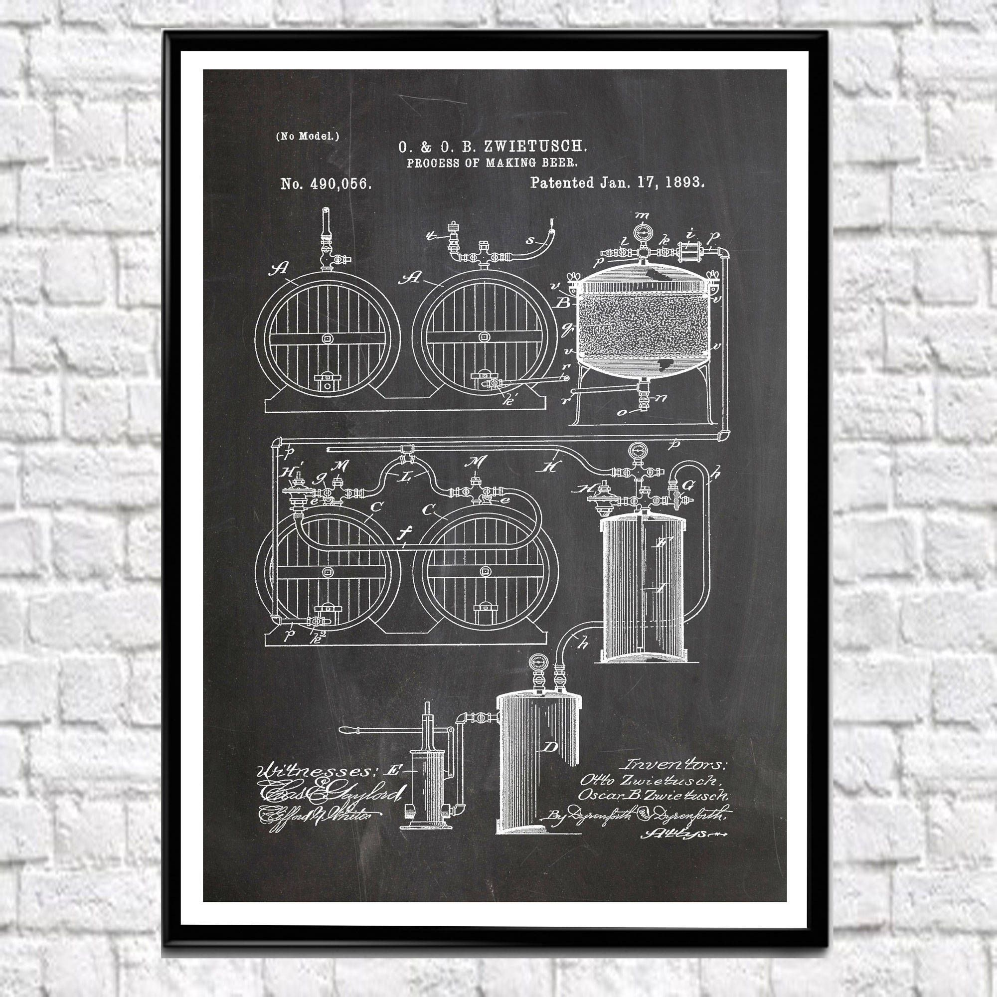 Beer Making Process Patent Wall Art Poster Decor For Bar Craft Brewing Posters Wb130