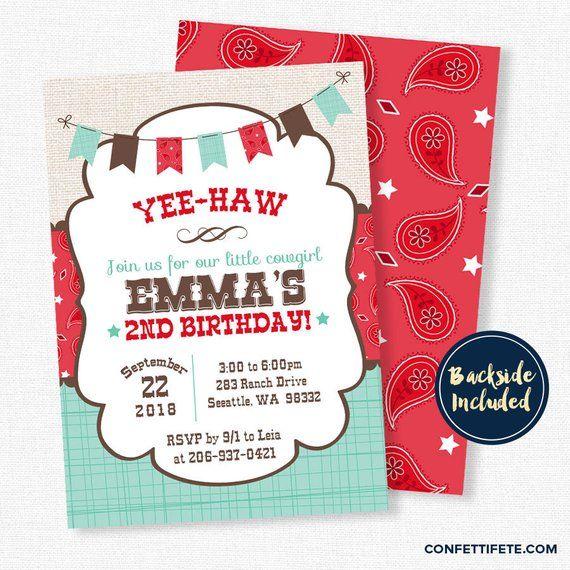 Cowgirl Birthday Invitation Western Birthday Invitation Red