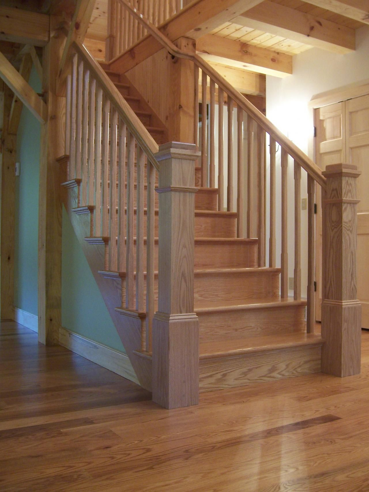 Solid Oak Stair And Rail Rustic Staircase Cottage Staircase