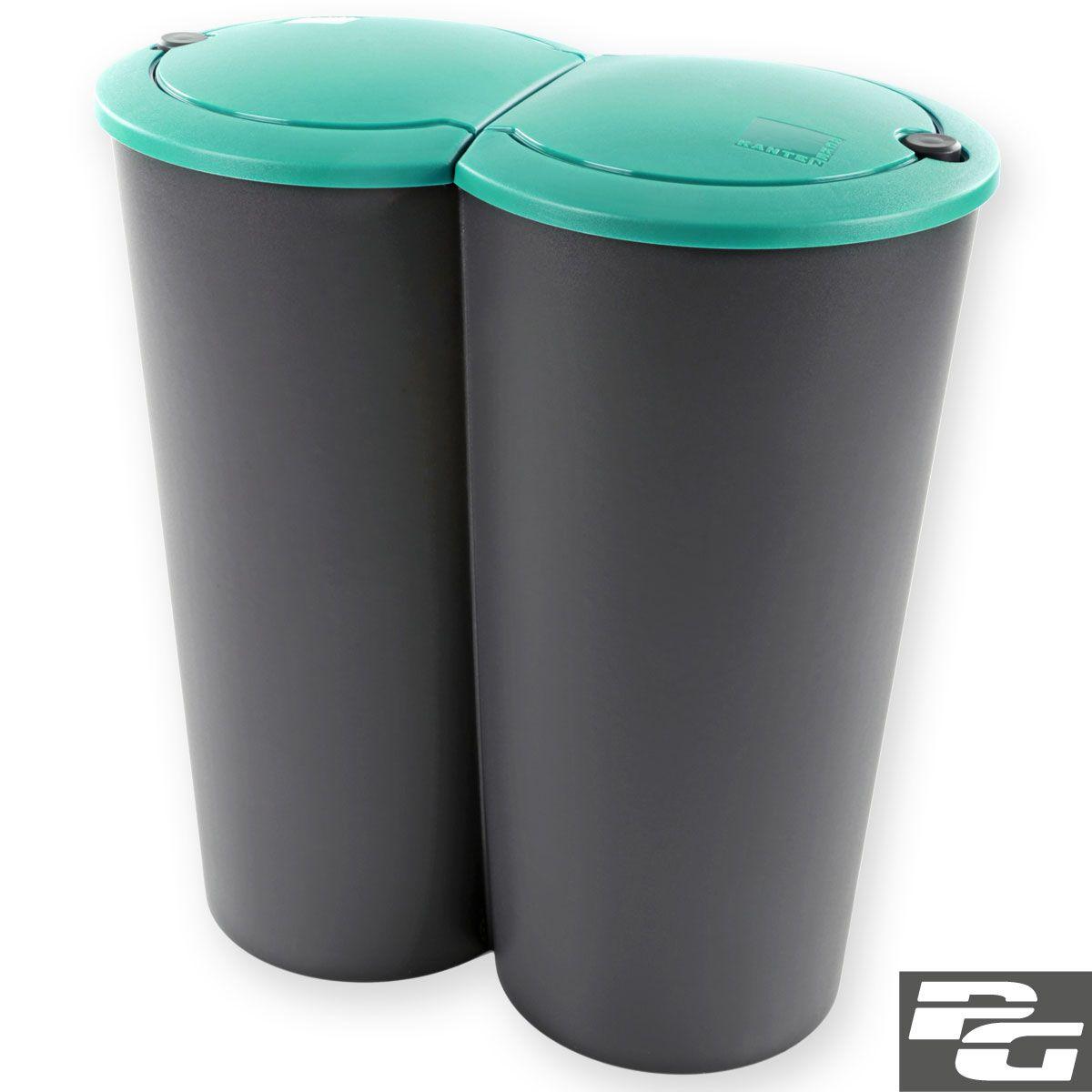 Mulleimer 2x25l 50l Duo Bin Kunststoff Mulltrenner Abfalleimer Treteimer Abfalleimer Kunststoff Abfall