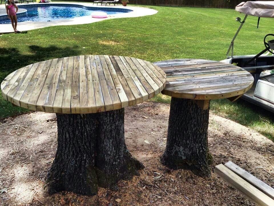 Diy Outdoor Table Ideas For Garden Improvement Stump Table