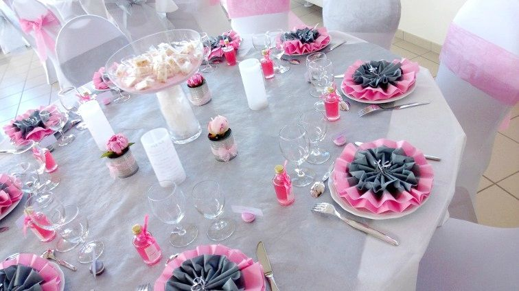 Id e d co de table gris perle et rose mariage wedding - Deco table noel argent et blanc ...