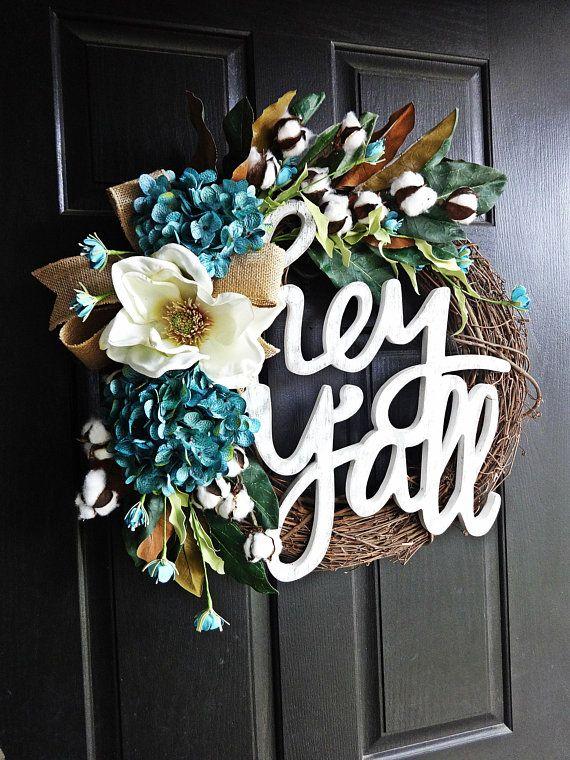 Photo of Hey Ya'll Wreath, Southern Wreath, Cotton Wreath, Magnolia Wreath, Spring Wreath, Summer Wreath, Cotton Boll, Burlap Wreath, Aqua Wreath