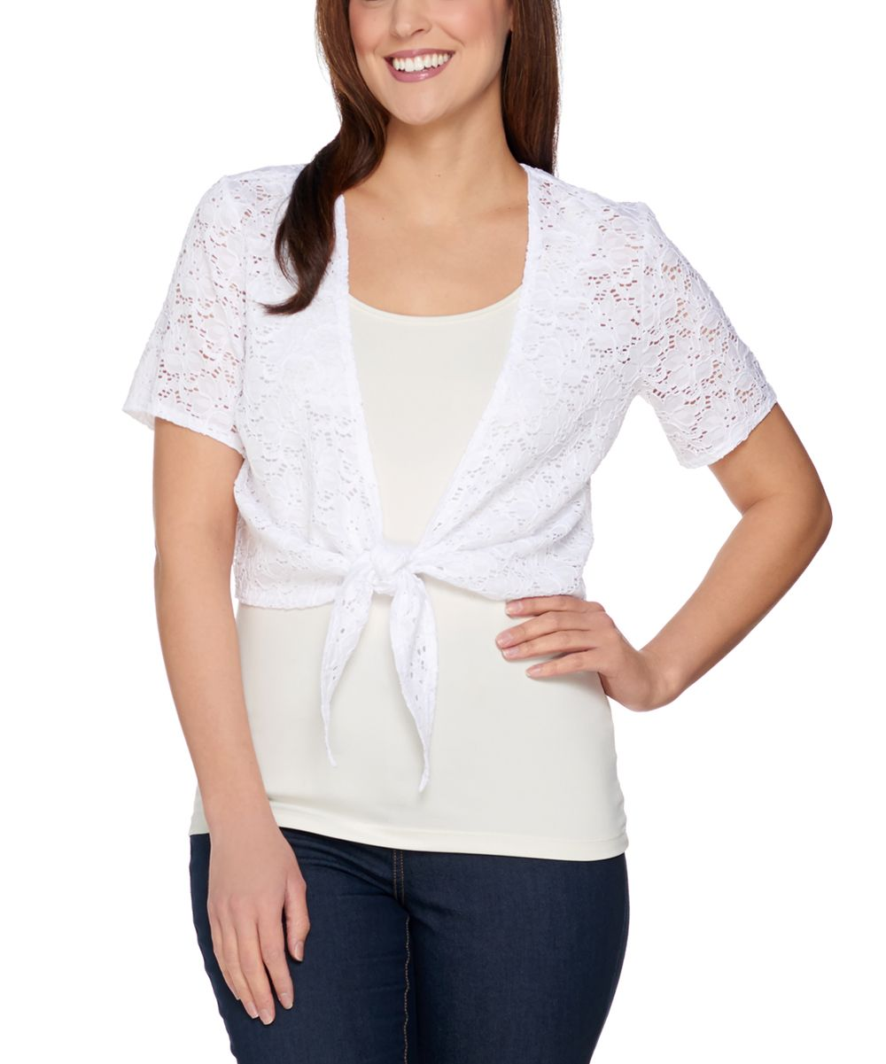 White Lace Short-Sleeve Shrug - Plus Too | Lace, Lace shrug and ...