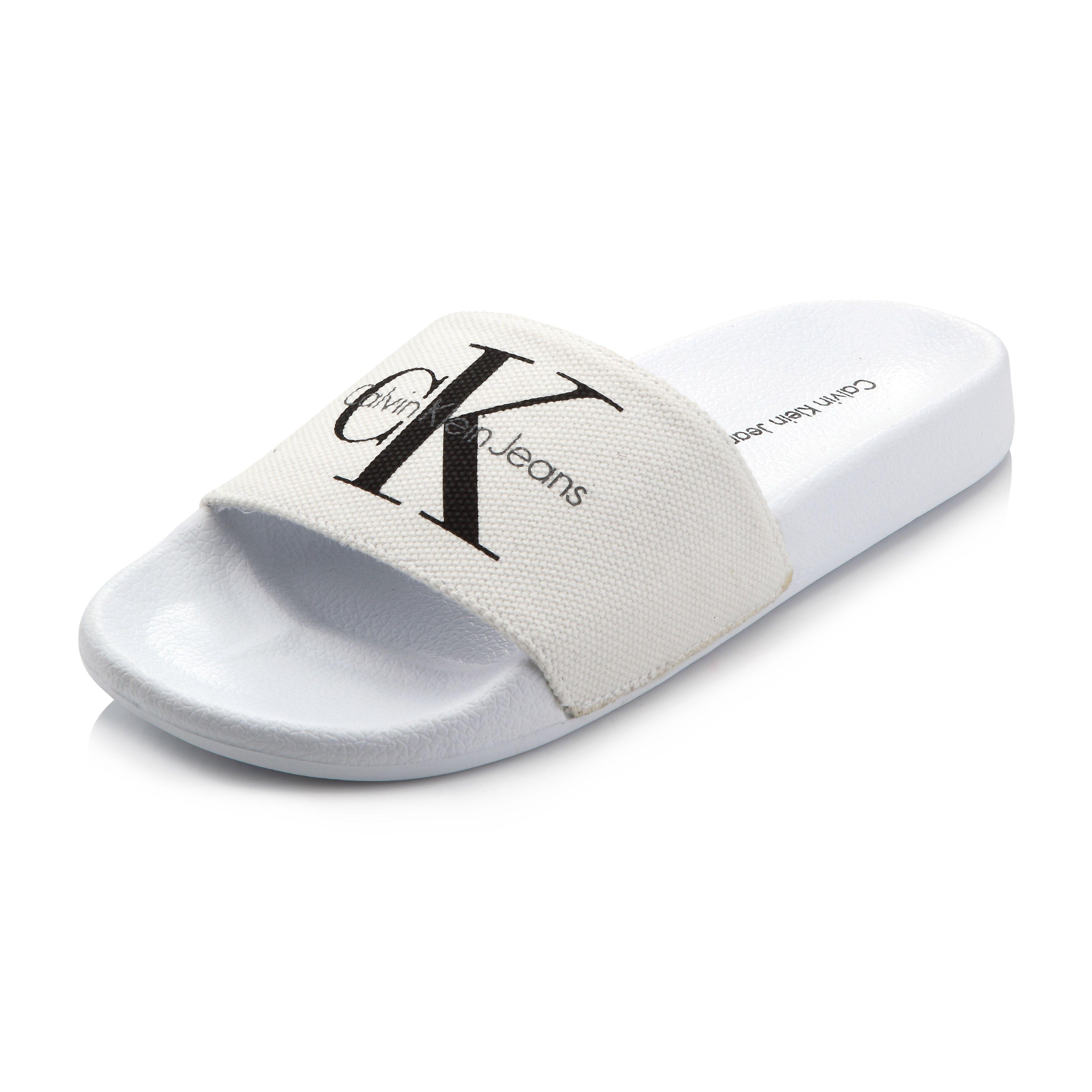 Calvin Klein Viggo Canvas Slide White Calvin Klein