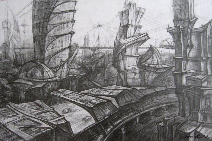 Картинки фантастического города карандашом