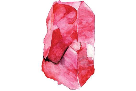 Watercolour Ruby Gemstone Blank Greeting Card 8x10 Art Prints Art Prints Ruby Gemstone
