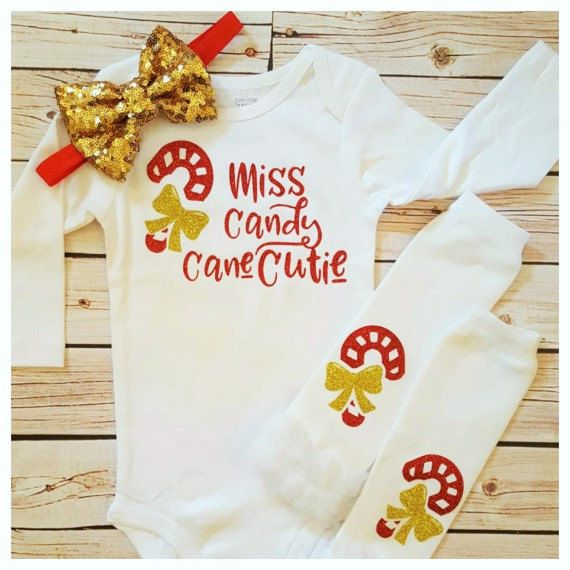 965041293 Adorable Baby girl Miss Candy Cane Cutie outfit ~~~ 3 pcs Christmas ...