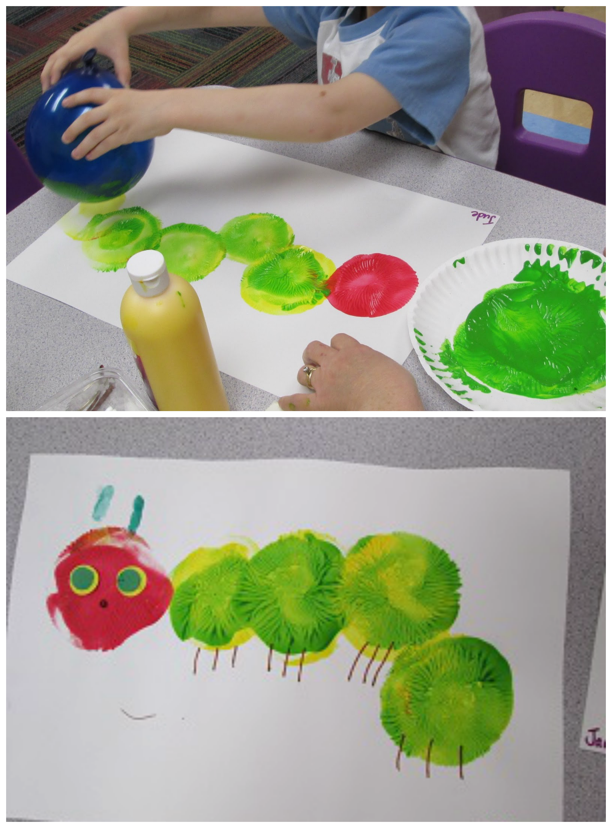 Balloon painting hungry caterpillar craft for kids fun for Balloon ideas for kids