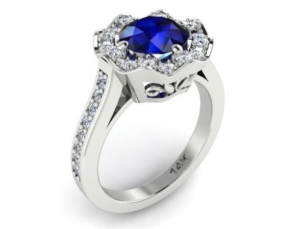 blue sapphire ring, wedding rings, flower diamonds ring, Engagement Rings