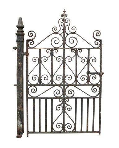Antique Wrought Iron Pedestrian Side Gate With Post Uk Architectural Heritage Basculante Portao Basculante Enfeites