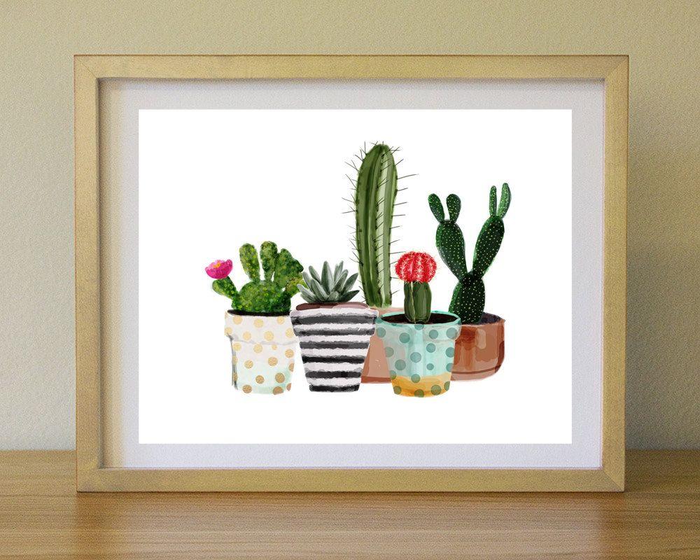 Cactus Print Printable Art Cactus Art Home Decor Potted Cactus Watercolor Succulents Wall Decor Instant Download By Studioglindda Suluboya Sanat Cizim