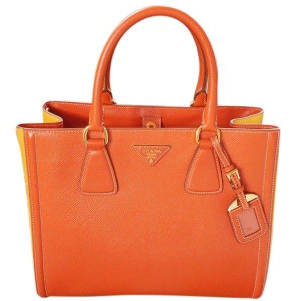 Pre Owned Prada Saffiano Lux Papaya Mimosa Yellow Orange Tote Bag Orange Tote Bags Leather Handbags Tote Red Tote Bag