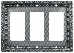 Victorian Decorative Triple Gang GFI Outlet or Rocker Light Switch Plate Cover (L-W19)