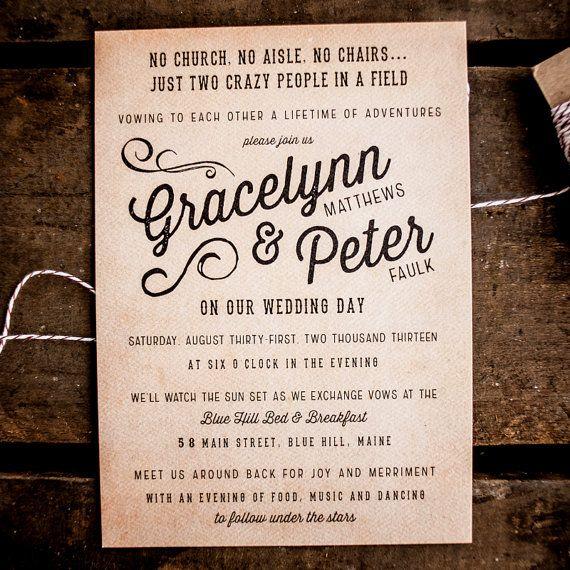 Rustic Wedding Invitation Vintage