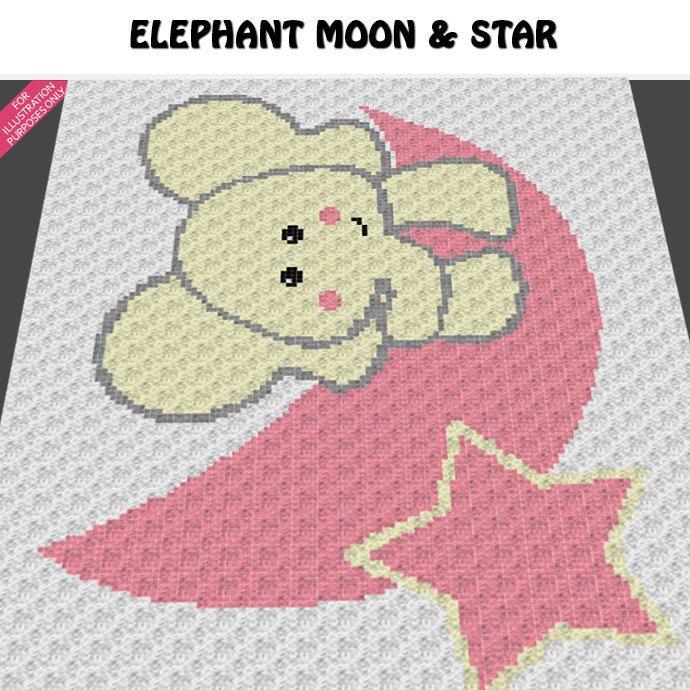 Baby Elephant On the Moon Star crochet blanket pattern ...