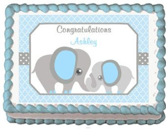 Elephant Baby Shower Sheet Cake