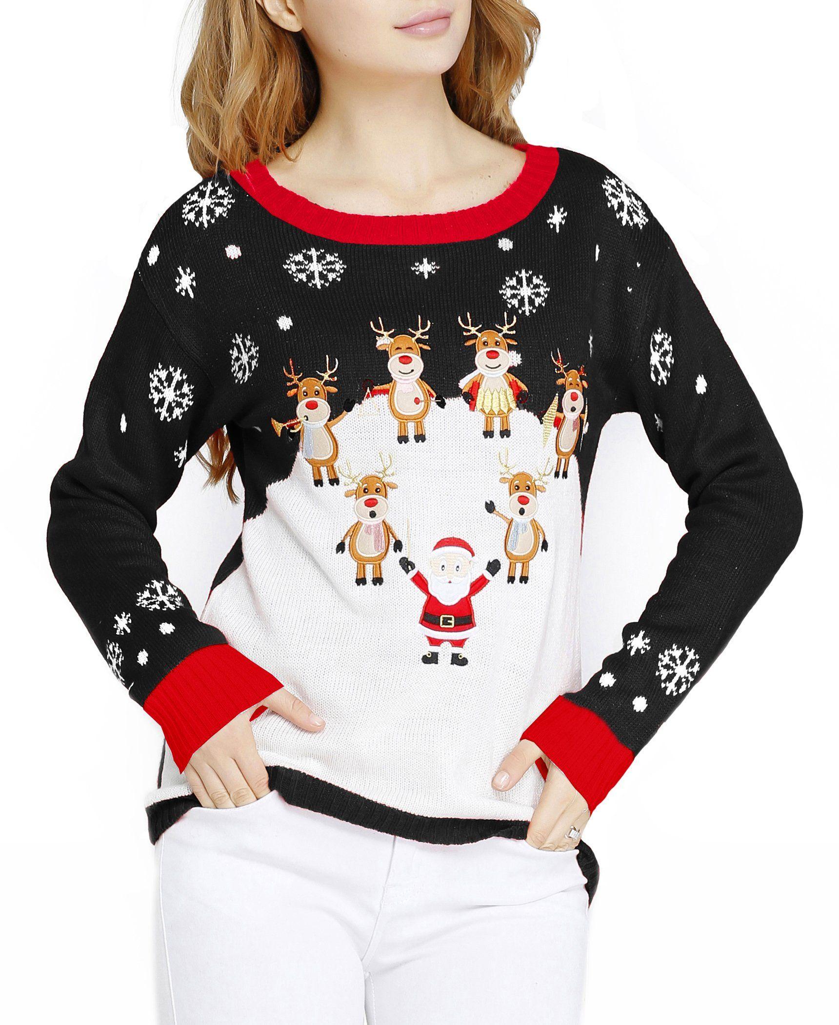 V28®Women Girl Christmas Cute Santa Embroidered Knitted