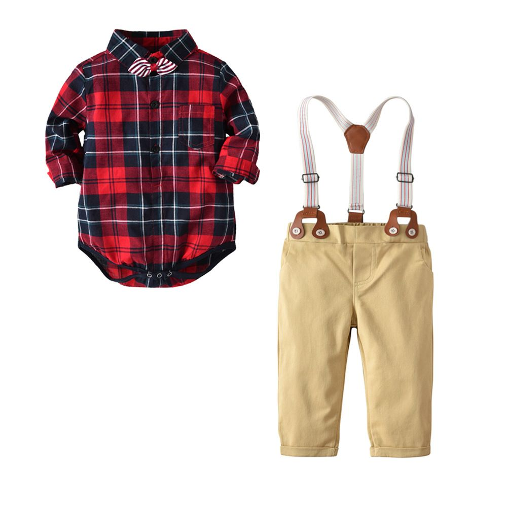 462ee1cef Autumn Kids Boys Clothes Set Baby Boy Gentleman Outfit Long Sleeve Romper  Shirt with Bow Tie
