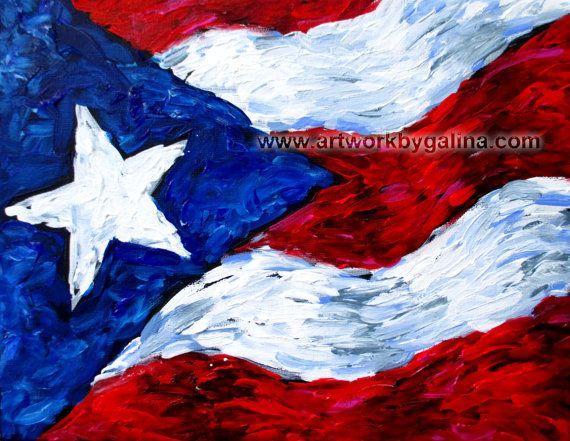 Puerto Rico Flag Original On Stretched Canvas Partiotic Unique Puerto Rico Art Flag Painting Puerto Rico Flag