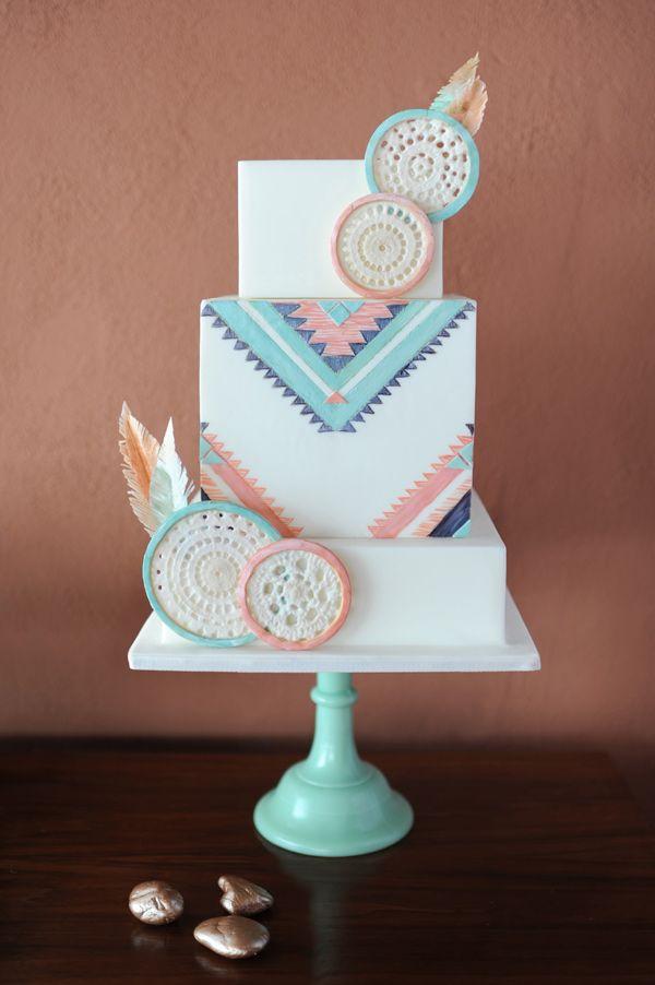 Southwestern inspired wedding cake, photo by Revel and Bloom http://ruffledblog.com/lovestruck-wedding-inspiration #weddingcake #cakes
