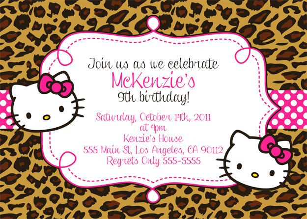 Hello Kitty Invitation - Leopard or Zebra Print. $10.00, via Etsy ...