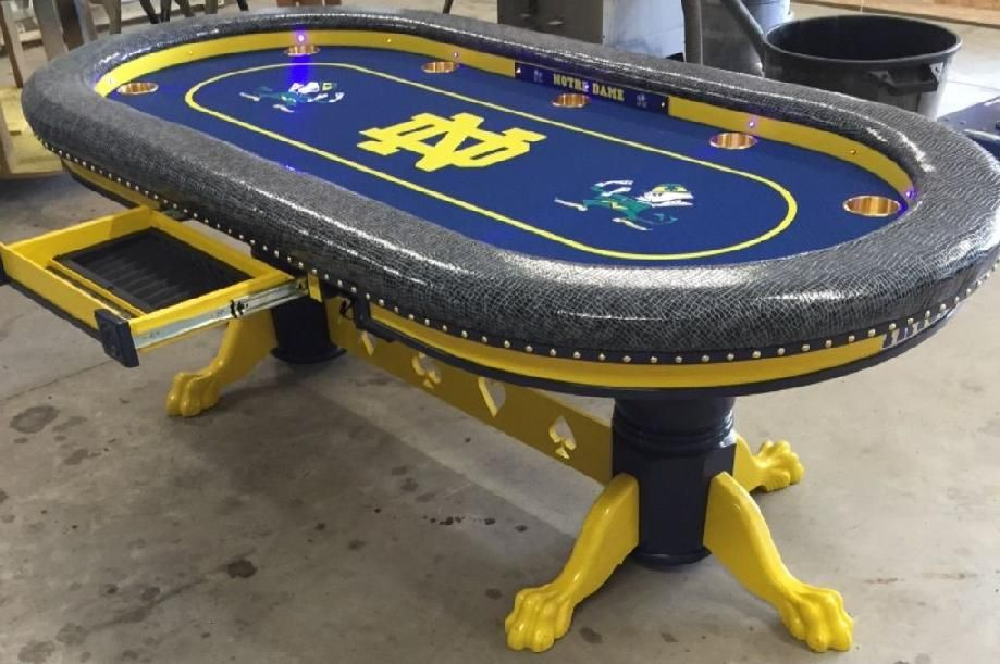 poker table Notre Dame theme, team colors & felt Poker