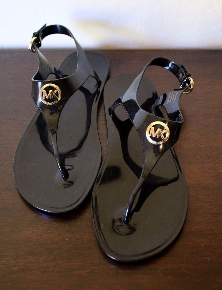 d49c3aad18f7 Michael Michael Kors Jelly Black Gold Logo Thong Sandals Sz- 9 NEW   MichaelKors  TStrap