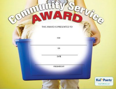Token of appreciation for community service work by kids