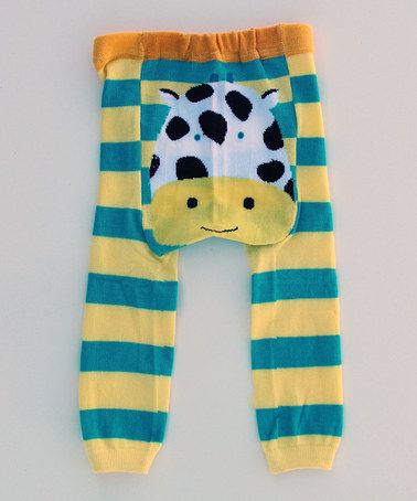 Take a look at this Yellow & Blue Stripe Cow Leggings by Lucy Leggings on #zulily today!