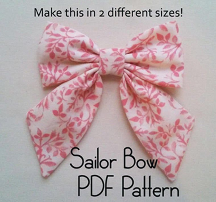 Sailor Bow PDF Pattern, sewing pattern, hair bow tutorial, bow pattern, hair accessory pattern, pdf pattern, girls pattern