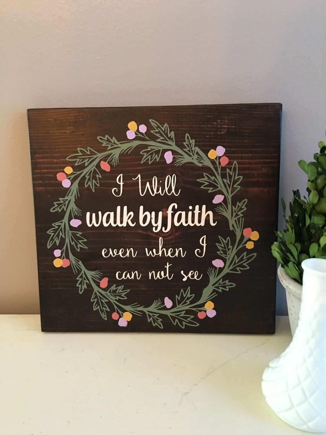 Walk by faith wood signs scripture wall art bible for Bible verse decor