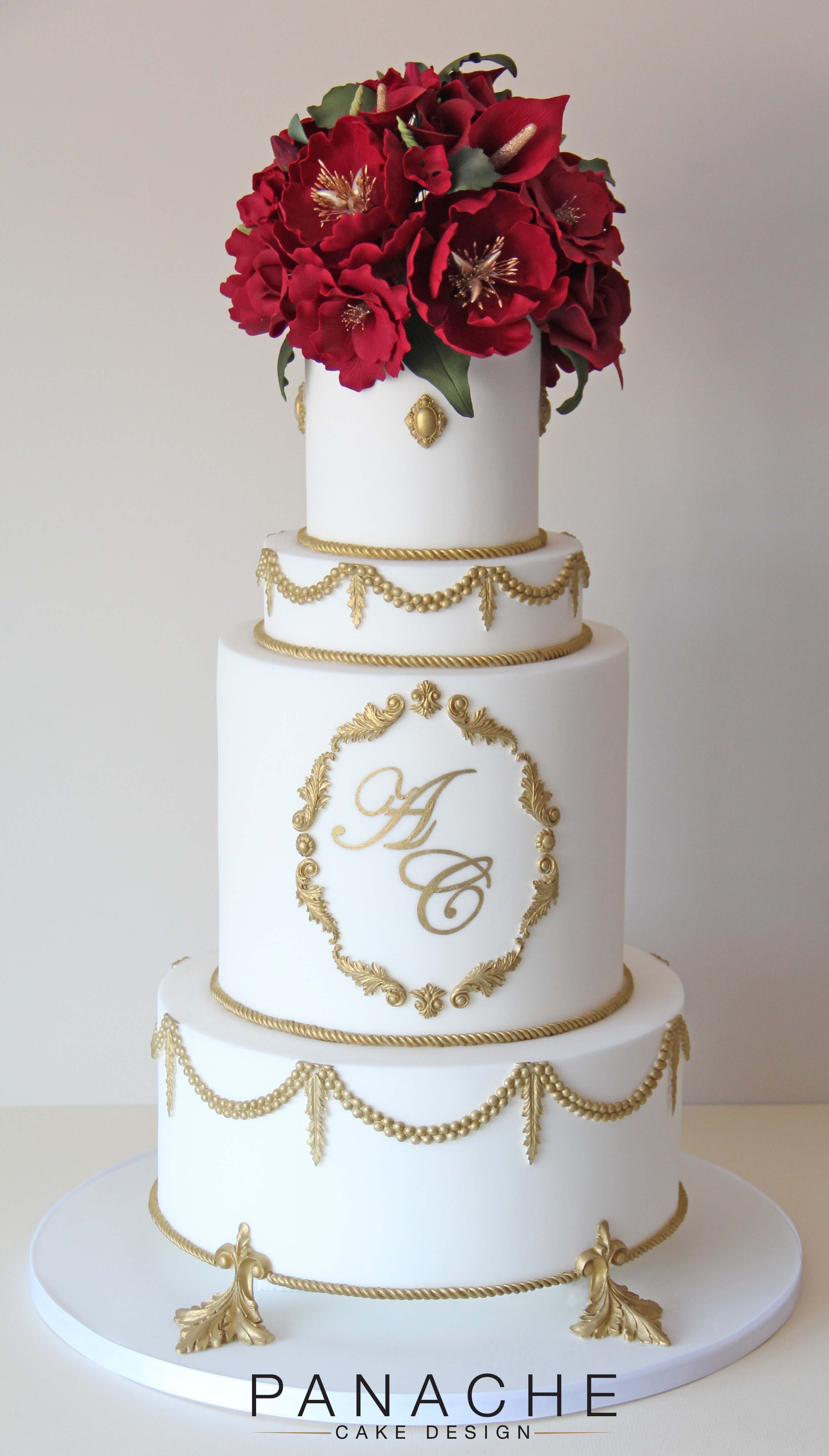 Regal opulent wedding cake london contemporary sugar flowers red regal opulent wedding cake london contemporary sugar flowers red flowers roses peonies lillies gold red white mightylinksfo Image collections