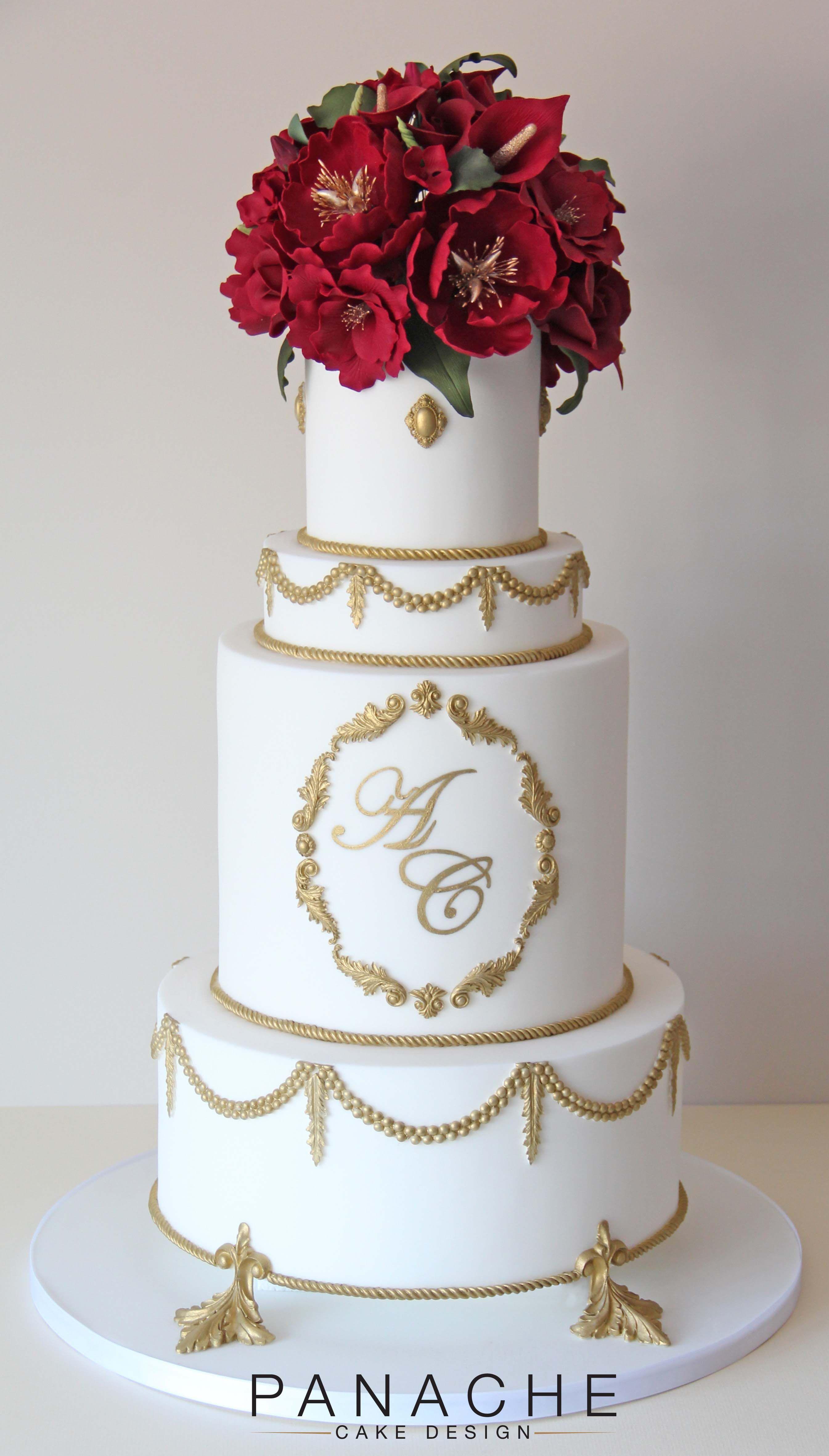 Simple Wedding Cake With Red Flowers | deweddingjpg.com