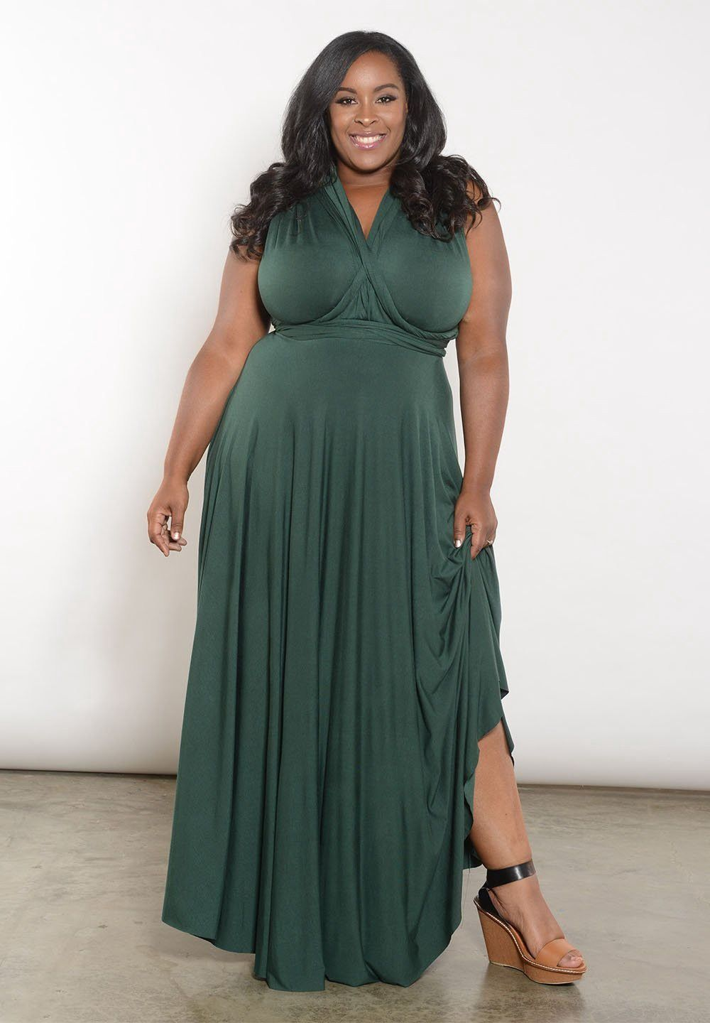 296aaf7a623 ... Size 10 And Up. Sealed With A Kiss Eternity Maxi Convertible Dress -  1X 3X Green