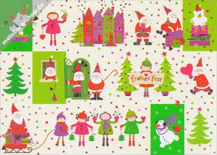 Postkarte mit Kindern in Winterkleidung und Weihnachtsmännern mit Geschenken. Sie wünschen ein Frohes Fest. Zwischen Tannenbäumen, kleinen Herzen und vielen Sternen herrscht eine fröhliche Weihnachtsstimmung, auch ein Schneemann und zwei Eisbären sind dabei.