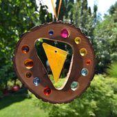 pendant wooden sun catcher Fusing Glass element 19 cmnatural oak window decora Gartendeko pendant wooden sun catcher Fusing Glass element 19 cmnatural oak window decorati...