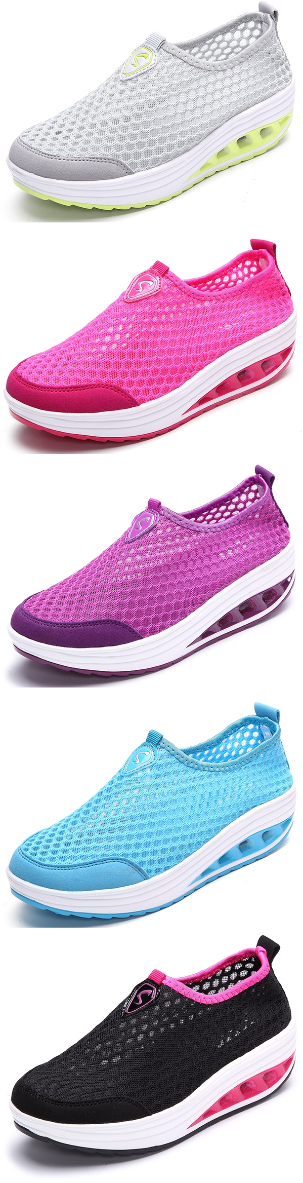 Mesh Breathable Sport Pure Color Slip On Athletic Platform Casual Sport Breathable   fbafcd
