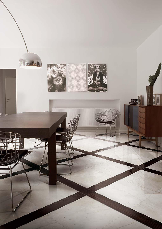 Parfait Carrelage Imitation Marbre. Salon Chic Blanc Et Brun. #rex #marbre #white  #decoration #interieur #salon