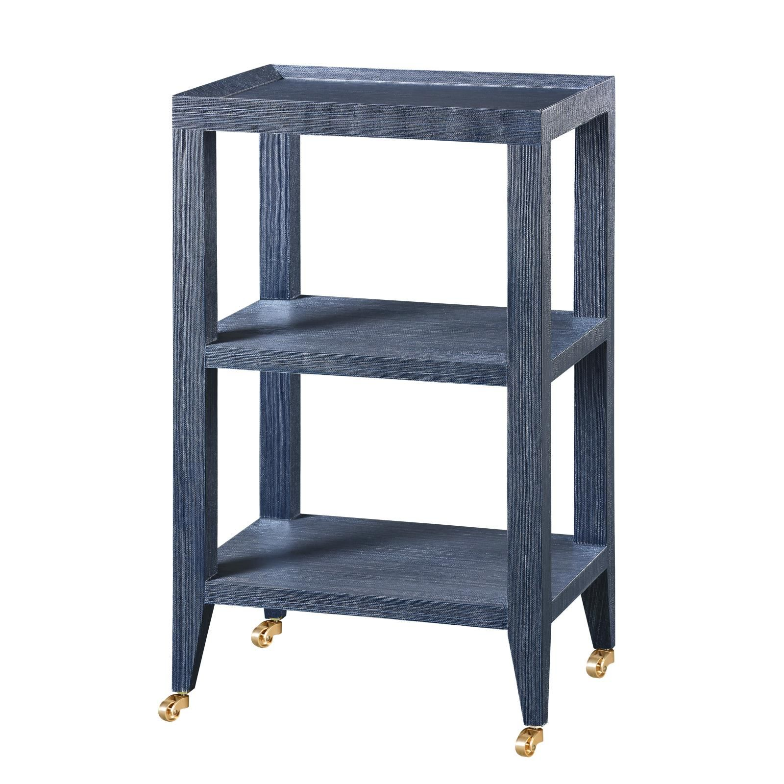 Isadora Side Table, Navy Blue Lacquered Grasscloth. 17Wx13Dx29H. Other  Colors Available.