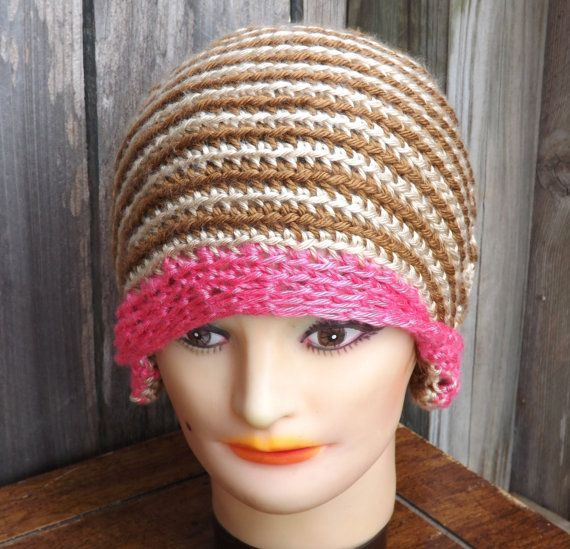 Crochet Cloche Hat with Brown Stripes and Pink Brim | Nerd Clothes ...