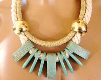 Statement Rope Necklace Tribal Necklace Gold Bordeaux от vess65