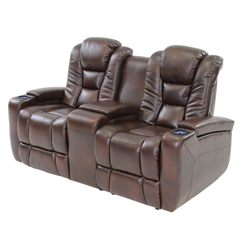 Transformer Brown W Console Reclining Sofa Home Theater