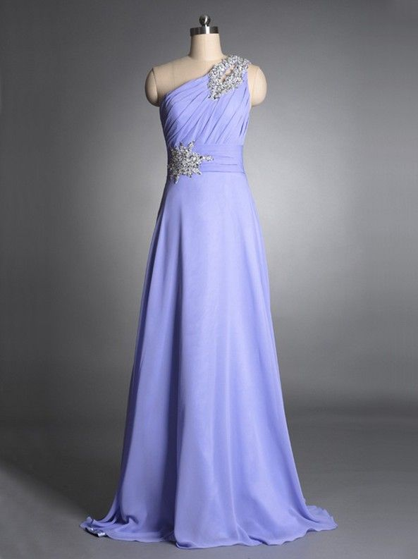 Affordable Chiffon Lavender prom dress with Rhinestones