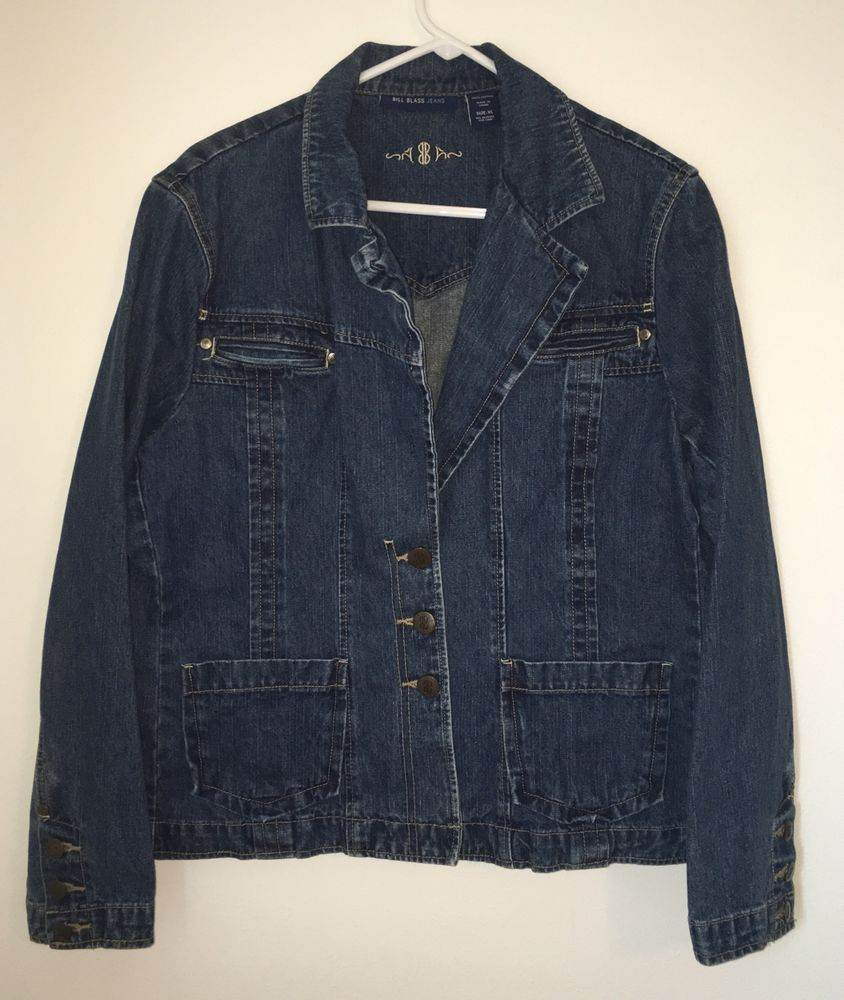 Womens BILL BLASS JEANS Extra Large XL Blue Jacket Denim Coat Cotton Button #BillBlass #JeanJacket