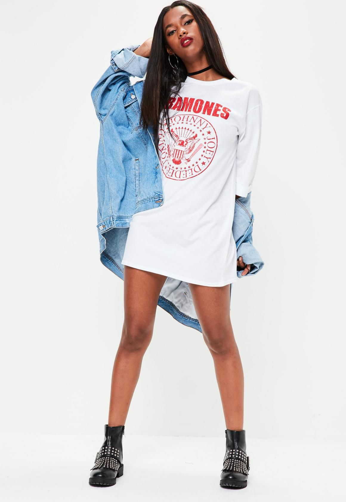 62a383641 Missguided - White Oversized Ramones Graphic T-shirt Dress ...
