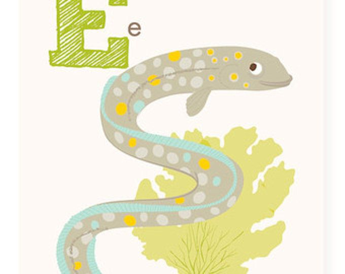 ABC wall art, ABC card, E is for Eel, ABC wall decor, alphabet flash ...