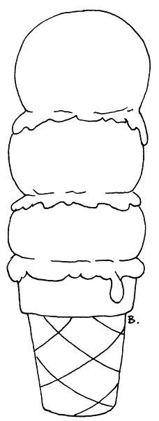 Triple Scoop Icecream Cone Coloring Pages Color Coloring Books